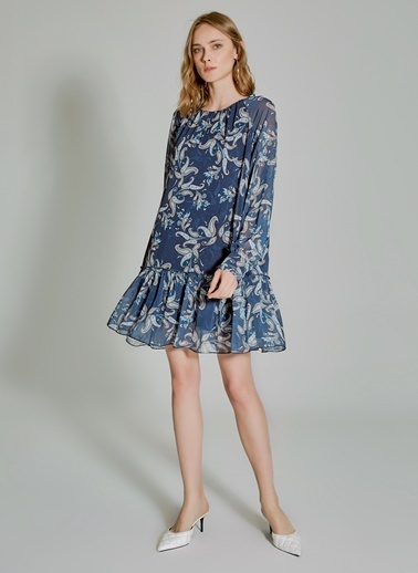 People By Fabrika Şal Desenli Elbise Mavi